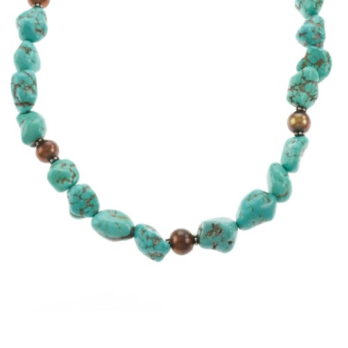 Sterling Silver Turquoise Nugget and Brown Freshwater Cultured Pearl Necklace, 26