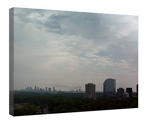 iRocket Canvas Prints Wall Art - Atlanta Skyline Panorama Eyfinity - Wood Board Background Stretched Canvas Wrap Ready To Hang For Home And Office Decoration - 24