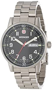 Wenger Men's 70163 Commando Day Date XL Black Dial Steel Bracelet Watch