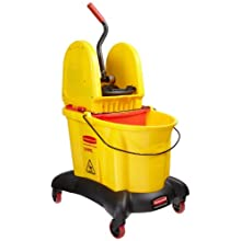 "Rubbermaid Commercial 7677 YEL 35 qt Capacity, 22.4"" Length x 16-1/2"" Width x 38.6"" Height, Yellow WaveBrake Dual Water Down Press Combo with Downward Pressure Wringer"