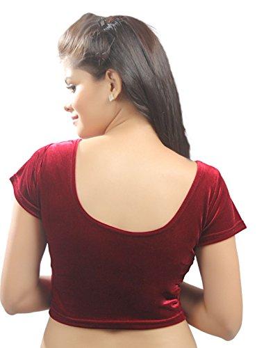 Maroon Velvet Chic Ready-made Saree Blouse Sari Choli - A-9 - Large