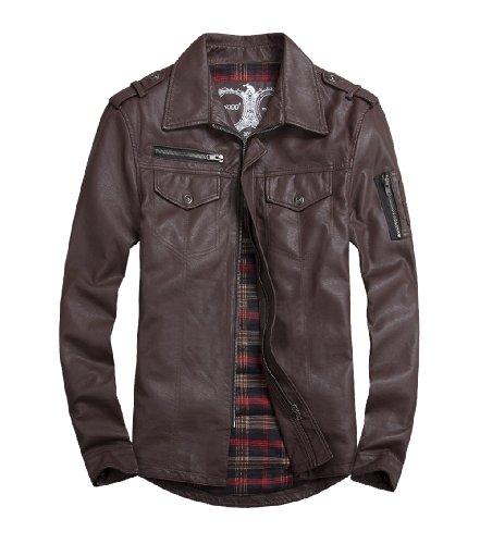 Lex Men'S Zipper Design Distressed Classic Chic Leather Jacket Brown L