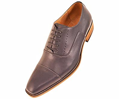amali mens grey classic smooth dress shoe with cap toe and