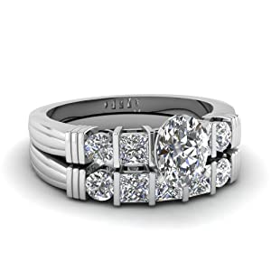 Royally Designed 1.55 Ct Oval Shaped Diamond Bar Bridal Rings Engagement Set SI1 14K GIA Certificate # 1142736245