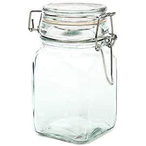 "Glass Jars w/ Locking Lid -4.75"" H X 2.5"" Square -Holds 7 Fl Oz ~Case of 36 Jars"