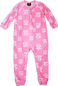 Green Bay Packers Toddler Girls Pink Full Zip Sleeper from Genuine Outer Stuff