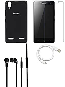 NIROSHA Tempered Glass Screen Guard Cover Headphone / Hands Free USB Cable for Lenovo A6000 - Combo