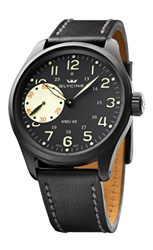 Limited Edition Glycine KMU 48 Black PVD Steel GMT Manual Wind Mens Watch 3905.99AT