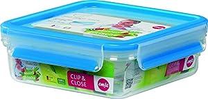 EMSA 508536 Vorratsdose 0.85 L, quadratisch Clip & Close 3D Perfect Clean