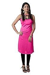 Kittus Fashion House Women's Poly Rayon A-Line Kurti (Kskrt-1078C_Pink_Large)