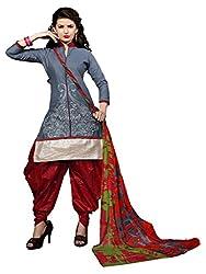 NK New Grey Semi Stitch Salwar Suit With Dupatta