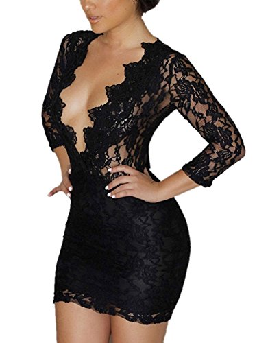 Roswear Women's Hollow Out Lace V Neck Clubwear Mini Dress Black XX-Large