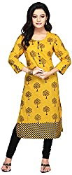 Vastra Vinod Women's Cotton Kurta (vt116, Yellow, Large)