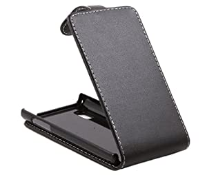 iTALKonline NERO FlipMatic Easy Clip On verticale flip cover Custodia con supporto per LG Optimus L5 E610