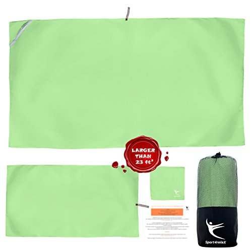 PREMIUM CAMPING TOWEL, Set of 3 Microfiber Towels for Gym, Pool, Travel, Sports, Beach, FREE Mesh Bag, Quick Dry, Compact, Super Absorbent and Lightweight