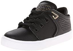 Osiris D3V Skate Shoe (Little Kid/Big Kid), Black/Gold/White, 6 M US Big Kid