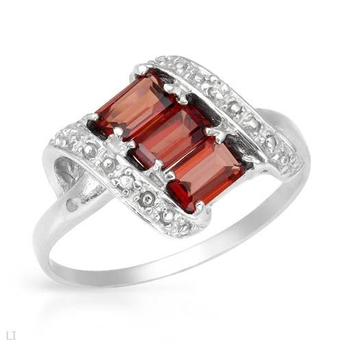 Ring With 1.10ctw Precious Stones - Genuine Diamonds and Garnets Made of 925 Sterling silver (Size 7)