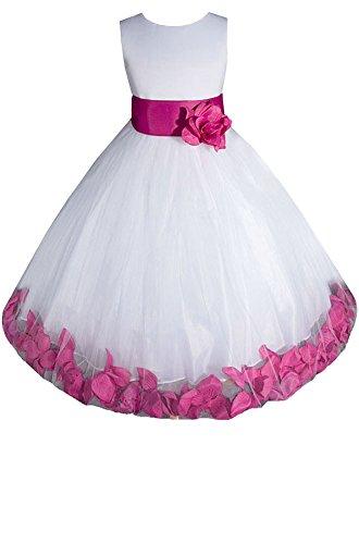 Amj Dresses Inc Girls White/Fuchsia Flower Girl Pageant Dress Size 6