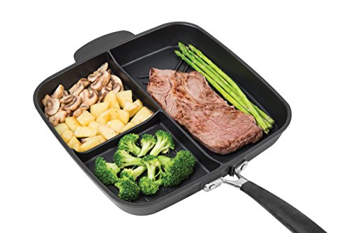 """MasterPan Non-Stick 3 Section Meal Skillet, 11"""", Black"""