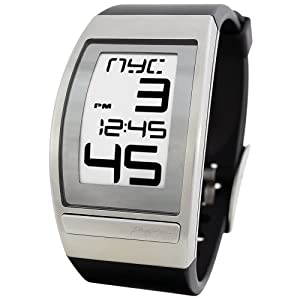 Phosphor Men's WC01 World Time Curved E-INK Black Polyurethane Strap Watch