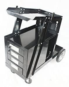 QuestCraft Universal Welding Cart w 4 Drawer Cabinet MIG TIG ARC Plasma Cutter Tank Storage from QuestCraft