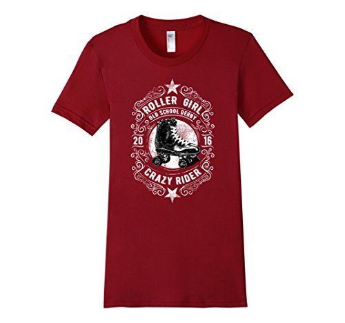 [Women's RollerGirl: OLD SCHOOL DERBY CRAZY RIDER T-Shirt XL Cranberry] (Roller Skating Costumes)