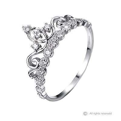 Dainty 14K White Gold Princess Crown Ring