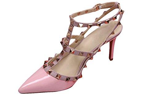wanmi pupms da donna Gold-Tone ROCKSTUD Rosa Brevetto In pelle cinturino alla caviglia punta lavoro sandali scarpe tacchi alti, donna, Pink, 36