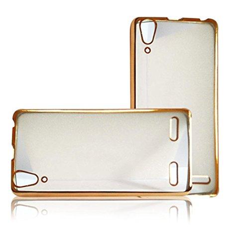 PES Ultra Slim Electroplating Soft Clear TPU Case Transparent Back Cover For Lenovo A6000 / Lenovo A6000 Plus - Gold