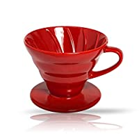 Premium Ceramic Manual Brewing Pourover Coffee 02 Dripper Filter Cup in Red