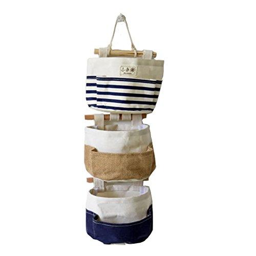 Fieans Sac Muraux Sac de Rangement Suspendu Organiseur à 3 Pochette Lin Vintage Sac Gadgets Titulaire Wall Hanging Accessoire-Bleu