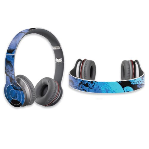 Mightyskins Protective Vinyl Skin Decal Cover For Dr. Dre Beats Solo Hd Headphones Sticker Skins Blue Skulls