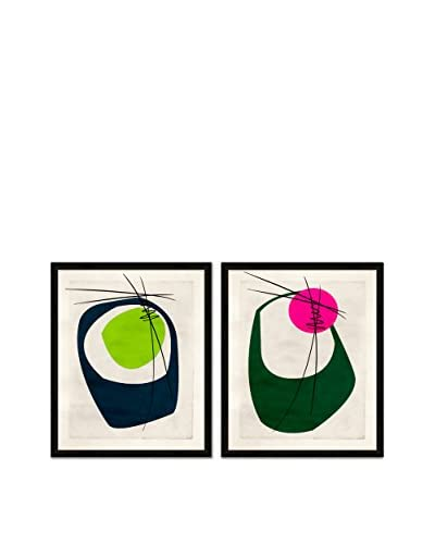 Soicher Marin Set of 2 Retro Mod Tini Giclée Reproductions, Turquoise/Green