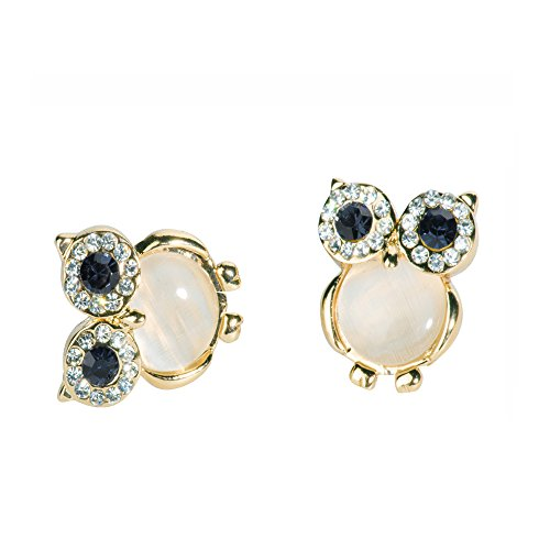 Wicary Cute Owl Rhinestone Cymophane Crystal Earring Anti-allergy Needle Ear Stud Anti-allergy