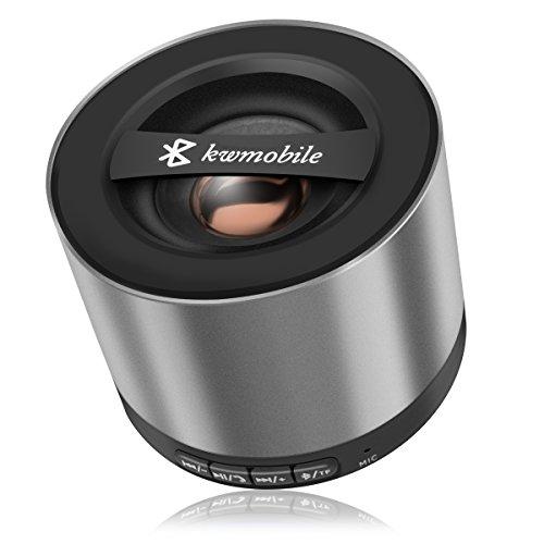 kwmobile   Mini Wireless Bluetooth Lautsprecher mit Micro SD Karten Slot, FM Radio und Mikrofon in Silber