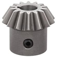 "Boston Gear HL150Y-P Bevel Pinion Gear, 2:1 Ratio, 0.375"" Bore, 14 Pitch, 14 Teeth, 20 Degree Pressure Angle, Straight Bevel, Keyway, Steel with Case-Hardened Teeth"