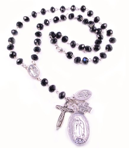 Catholic Saint Medal Necklace Rosary Necklace Look Our Lady of Guadalupe