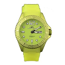 Adee Kaye #AK543-L Women's Lime Green Aluminum Rubber Strap Casual Sports Watch