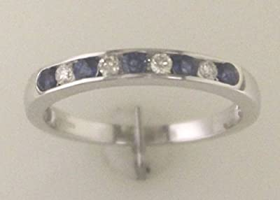 9ct White Gold Ladies Certified Diamond & Sapphire Half Eternity Ring - Colour G Clarity SI - Independent Diamond Certificate