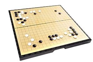 Azerus Standard Line: Classique Go / Weiqi, plateau de jeu avec des pièces de jeu magnétique (151 noir, 150 pierres blanches), grande taille L (37cm x 37cm x 5,5 cm), le conseil sert comme un cas de déplacement et boîte de rangement en métal, 0417 FR