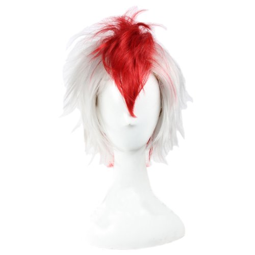 Angelaicos Men's Fiber Ponytail Two Tone Cosplay Party Costume Wigs Short White Red