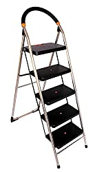 Truphe Heavy Duty Stainless Steel Ladder, Folding ladder in Chrome finish, 5 Steps ladder with 7 years warranty