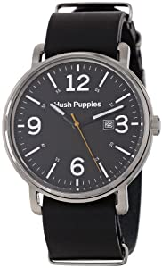 Hush Puppies Orbz Men's Automatic Watch with Black Dial Analogue Display and Black Leather Strap HP.3789M.2502
