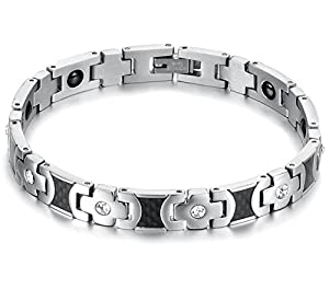 O.R.® (Old Rubin) Original New Energy Power Health Care Magnets Anti-Radiation&Fatigue Top Titanium Steel Couple's/Women's/Men's Bracelets Bangles with germanium, CZ Stones - For your health and wellbeing - 20.5cm/21.8cm Length - Best for Valentine Gift, Birthday present, Christmas gifts (Women's/20.8 CM)