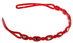 Trendy Baubles Bright Red Head Band With Clear Stone