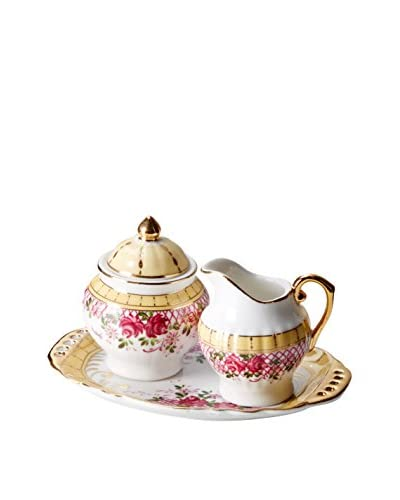 Dynasty Gallery Rose Garden Mini English Creamer & Sugar, Pink As You See