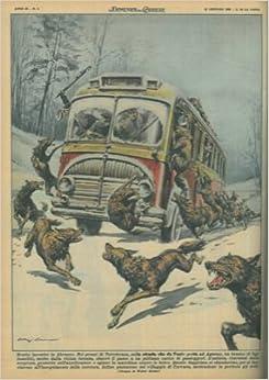 In Abruzzo branco di lupi famelici sbarra il passo a un pullman carico