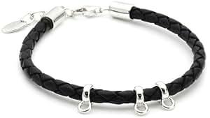 Esprit Damen-Charms-Armband leder black 925 Sterlingsilber Leder ca. 18+2cm ESNL91243A180