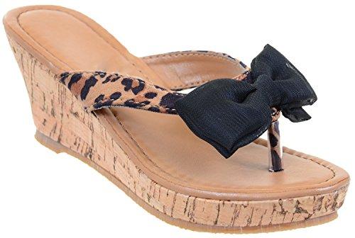 Girls Leopard & Bows Flip Flop Cork Wedge Sandals KIDS