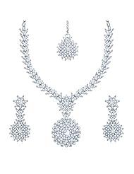 Sukkhi Delightly Rhodium Plated Australian Diamond Stone Studded Necklace Set